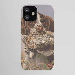 Vintage English Pointer Hunting Quail Painting (1869) iPhone Case