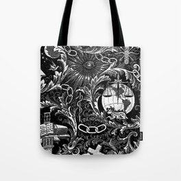 Black and White Woven IOOF Symbolism Tapestry Tote Bag