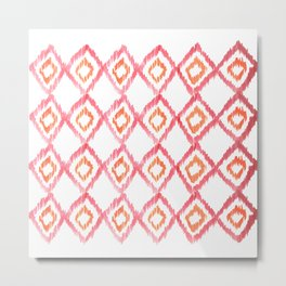Fiery Coral - aztec watercolour pattern Metal Print