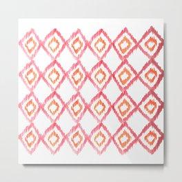 Fiery Coral - aztec watercolour pattern Metal Print