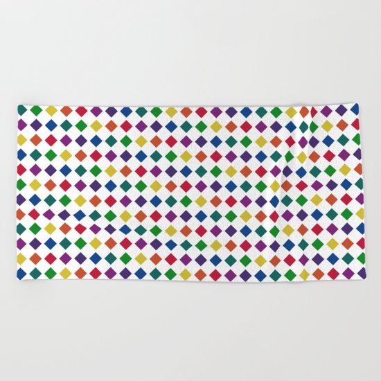 Colorful Seamless Rectangular Geometric Pattern Beach Towel