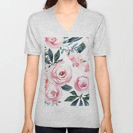 Watercolor Rose Unisex V-Neck