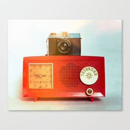 Retro Still Life with Vintage Radio Canvas Print