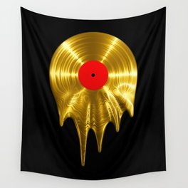 Melting vinyl GOLD / 3D render of gold vinyl record melting Wall Tapestry