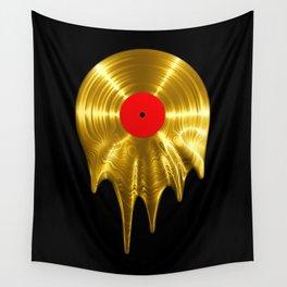 Melting vinyl GOLD / 3D render of gold vinyl record melting Wall Tapestry