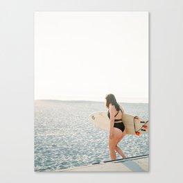 Surfer girl   Wanderlust photo print   Coastal photography wall art surfboard. Canvas Print