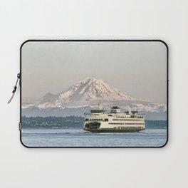 Seattle Bainbridge Island Ferry with Mount Rainier Laptop Sleeve