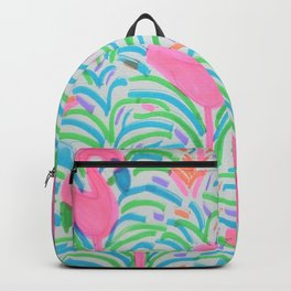 Flamingo Jungle Party Print Backpack