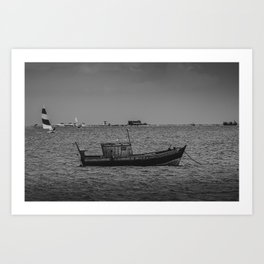 The old fisherman boat Art Print