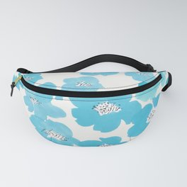 Camellia Flowers in Blue Pattern Fanny Pack