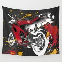 moto Wall Tapestries featuring Ducati 1098 Color Spots by Larsson Stevensem