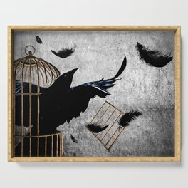 Crow Caged No More Raven Breaking Free Surreal Art A192 Serving Tray