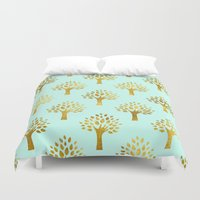 gold foil Duvet Covers featuring Mint Gold Foil 02 by Aloke Design
