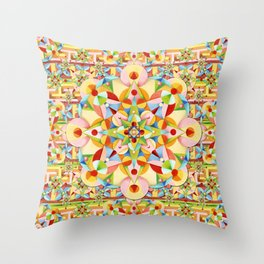 Rainbow Carousel Starburst Throw Pillow
