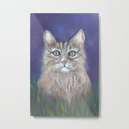 CUTE YOUNG TABBY CAT GREY BEIGE CHALK PASTEL DRAWING Metal Print