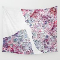 liverpool Wall Tapestries featuring Liverpool map by MapMapMaps.Watercolors