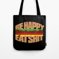hamburger Tote Bags featuring Hamburger by WAMTEES