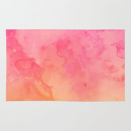 Modern summer hand painted pink orange sunset watercolor wash Rug