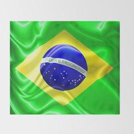 Brazil Flag Waving Silk Fabric Throw Blanket