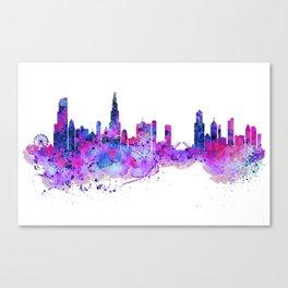 Chicago Watercolor Skyline 2 Canvas Print