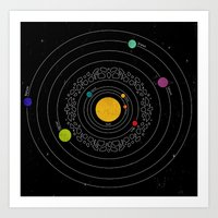 solar system Art Prints featuring Solar System  by Luis Patino