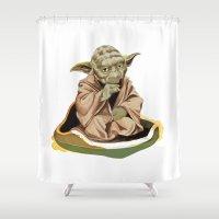 yoda Shower Curtains featuring Yoda by Rocío Gómez