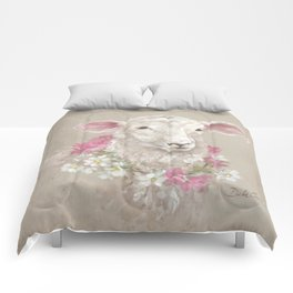 Sheep With Floral Wreath by Debi Coules Comforters
