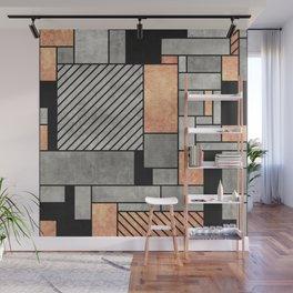 Random Pattern - Concrete and Copper Wall Mural
