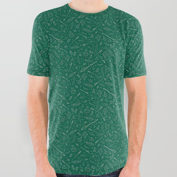 Yer_a_Wizard__Green__Silver_All_Over_Graphic_Tee_by_Tart_Cardinal_Creative__Small