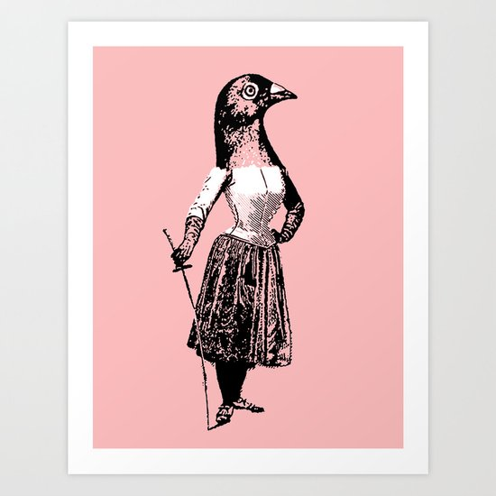 The Fencing Pigeon Art Print