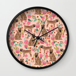 Sharpei dog breed florals dog pattern for dog lover by pet friendly sharpeis Wall Clock