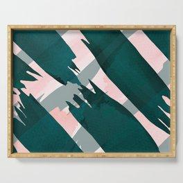 Artsy Modern Emerald Green Pink Brushstrokes Pattern Serving Tray