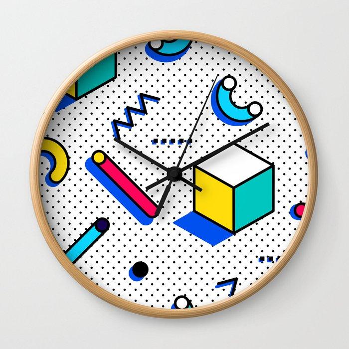 Patern in memphis, pop art style Wall Clock