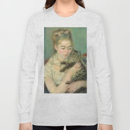Woman with a Cat Oil Painting by Auguste Renoir Long Sleeve T-shirt