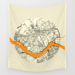 Seoul Map Moon Wall Tapestry