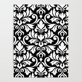Flourish Damask Big Ptn White on Black Poster