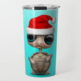 Christmas Turtle Wearing a Santa Hat Travel Mug