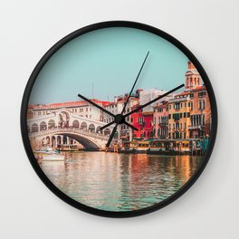 Venice Rialto Bridge over Grand Canal Wall Clock