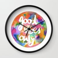 good vibes only Wall Clocks featuring Good Vibes Only by Mariam Tronchoni