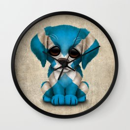 Cute Puppy Dog with flag of Scotland Wall Clock