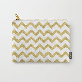Chevron Gold And White Carry-All Pouch