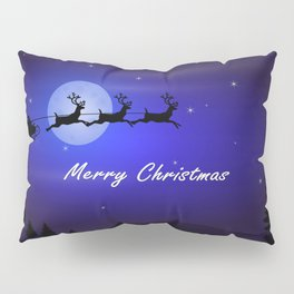Reindeer pulling Santa's Sleigh Pillow Sham