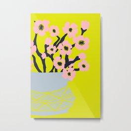 Pink Blooms in Blue Vase No 02 Metal Print