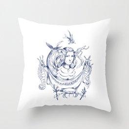 Sea Posse II - Princess, Navy Throw Pillow