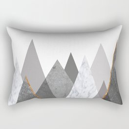 Marble Gray Copper Black and White Mountains Rectangular Pillow