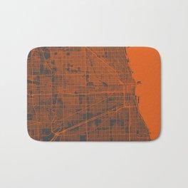 Chicago map orange Bath Mat