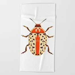 White and Orange Beetle Beach Towel