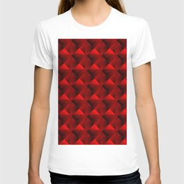 Optical pigtail rhombuses from red squares in the dark. T-shirt