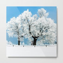 Tardis With Tree Blossom Christmas Metal Print