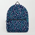 Berry Branches - Turquoise on Navy by catcoq